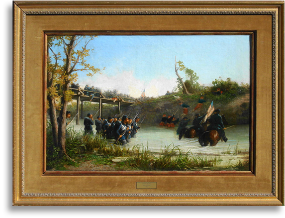 Civil War painting titled Watching the Shot by Winslow Homer